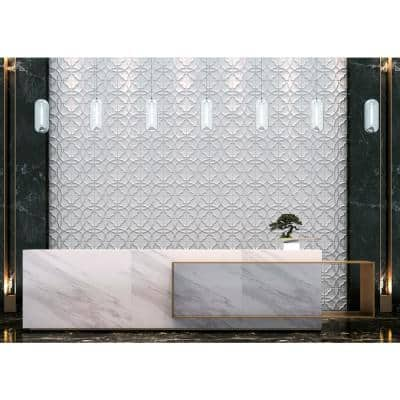 19.6 in. x 19.6 in. x 1 in. Off-White Plant Fiber Maze Design Glue-On Wainscot Wall Panels (10-Pieceper Pack)