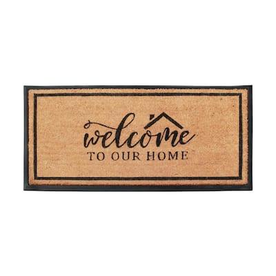 A1HC Welcome Plain Black/Beige 24 in x 47.5 in Rubber & Coir Non-Slip Outdoor Doormat