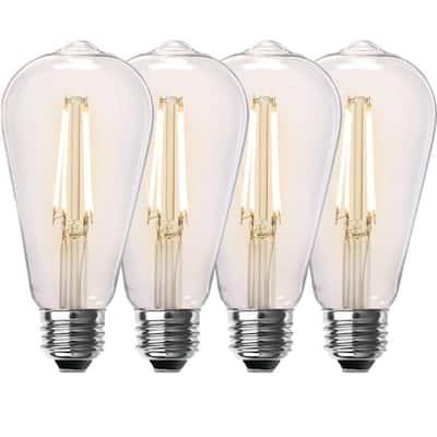 60-Watt Equivalent ST19 Dimmable Straight Filament Clear Glass Vintage Edison LED Light Bulb, Soft White (4-Pack)