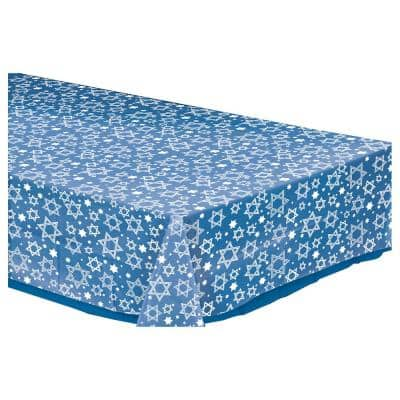 Star of David Rectangular Clear Plastic Table Cover (5-Pack)