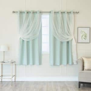 Mint Tulle Solid Blackout Curtain - 52 in. W x 63 in. L (Set of 2)