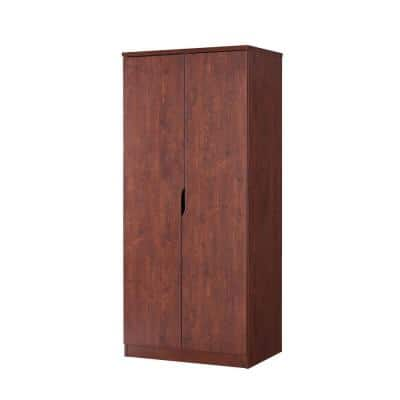 Alwin Vintage Walnut Wardrobe Armoire With Hanging Clothes Rod And 1-Shelf