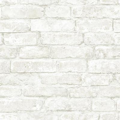 Arlington Off-White Brick Off-White Wallpaper Sample