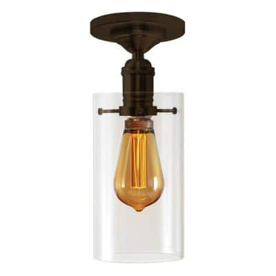 4.25 in. 1-Light Bronze Retro Cylinder Semi-Flush Mount with Clear Glass