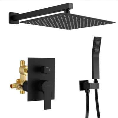 1-Spray Patterns with 3.8 GPM 12 in. Wall Mount Dual Shower Heads with Rough-In Valve Body and Trim in Matte Black