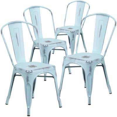 Stackable Metal Outdoor Dining Chair in Green-Blue (Set of 4)