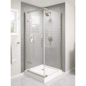 36 in. W x 76 in. H Square Sliding Frameless Corner Shower Enclosure in Stainless