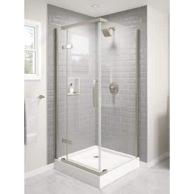 36 in. W x 76 in. H Square Sliding Frameless Corner Shower Enclosure in Stainless