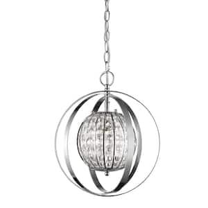Olivia 1-Light Indoor Polished Nickel with Crystal Pendant