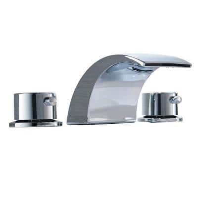 8 in. Waterfall Widespread 2-Handle Bathroom Faucet With Led Light In Brushed Nickel