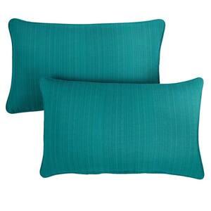 Sorra Home Sunbrella Textured Sea Blue Rectangular Outdoor Corded Lumbar Pillows (2-Pack)
