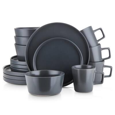 16-Piece Modern Gray Matte Stoneware Dinnerware Set (Set for 4)