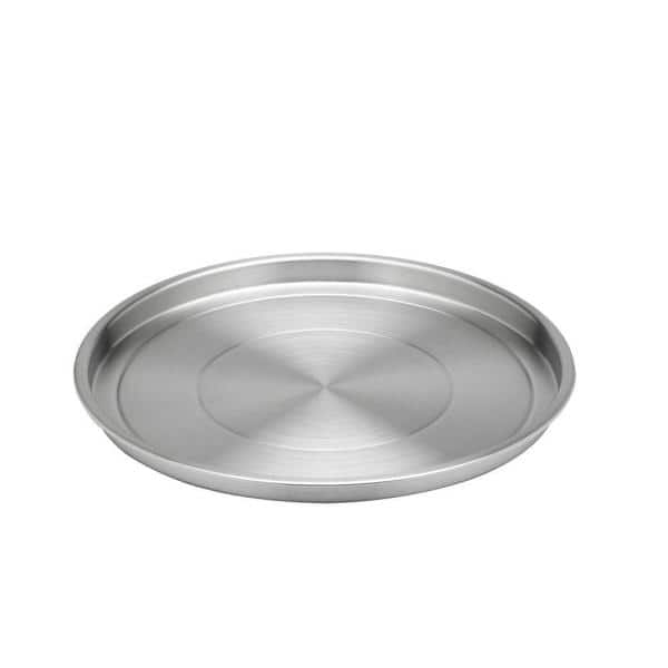 Kraftware 12 In Round Brushed, Round Stainless Steel Tray