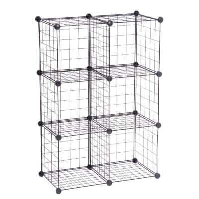 44.49 in. H x 13.24 in. W x 14.57 in. D Black Steel 6-Cube Storage Organizer