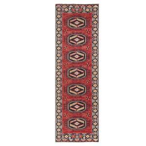 Polaris Red 2 ft. 8 in. x 10 ft. Medallion Runner Rug