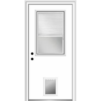 36 in. x 80 in. Internal Blinds Right-Hand Inswing 1/2-Lite Clear Primed Steel Prehung Front Door with Pet Door