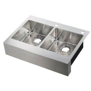 Retrofit Drop-In Stainless Steel 33 in. 2-Hole 50/50 Double Bowl Flat Farmhouse Apron Front Kitchen Sink