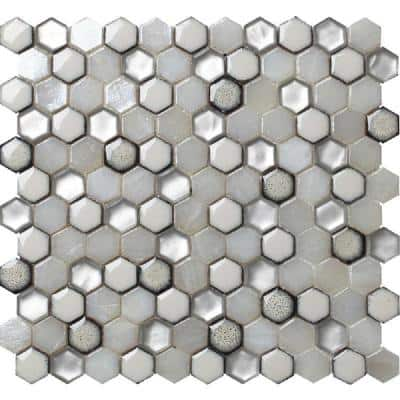 10 pack 10.8-in x 11.5-in White Hexagon Honed Glass Mosaic Floor and Wall Tile (8.63 Sq ft/case)
