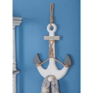 12 in. x 23 in. Nautical White and Gray Wooden Rope Anchor