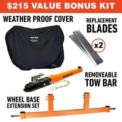4 in. 9.5 HP Gas Powered Commercial Chipper Shredder Kit with Removable Tow Hitch Bar and Wheel Extension Set