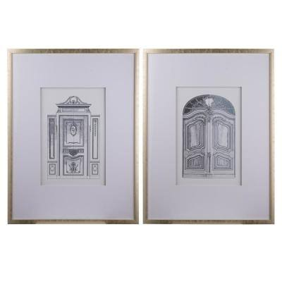 Framed White, Gold Pencial Architectural Wall Art (Set of 2)
