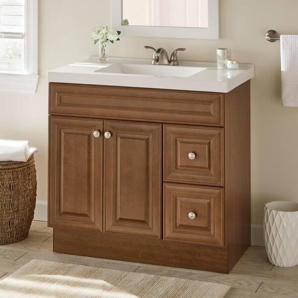 Glacier Bay Glensford 36 In W X 22 In D X 34 In H Bath Vanity Cabinet In Butterscotch Gf3621 Bt The Home Depot