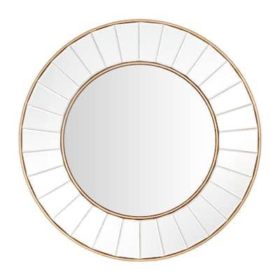 Medium Round Gold Beveled Glass Classic Accent Mirror (32 in. Diameter)