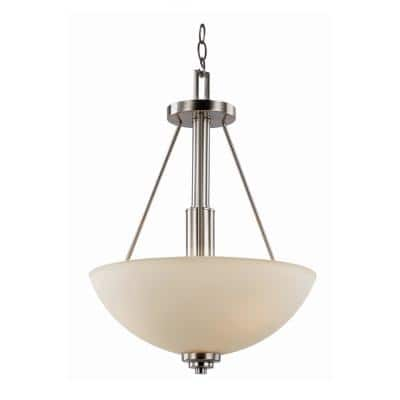 Mod Pod 15.75 in. 3-Light Polished Chrome Pendant with Frosted Glass Shade