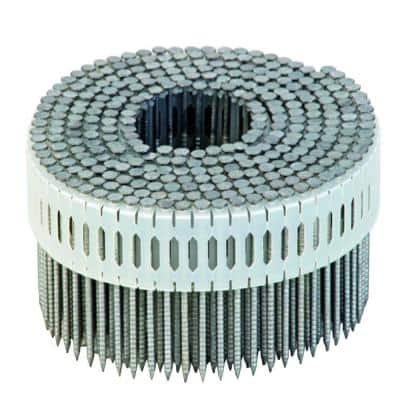 2-1/4 in. x 0.092-Gauge 0 Degree Galvanized Ring Shank Plastic Coil Siding Nails (3,600-Pack)