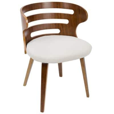 Cosi Cream Fabric Dining/Accent Chair with Walnut