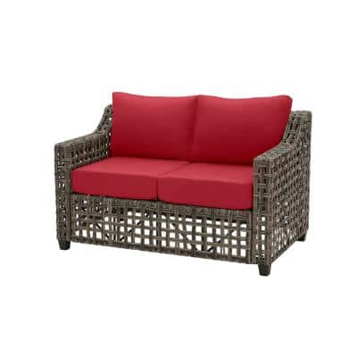 Briar Ridge Brown Wicker Outdoor Patio Loveseat with CushionGuard Chili Red Cushions