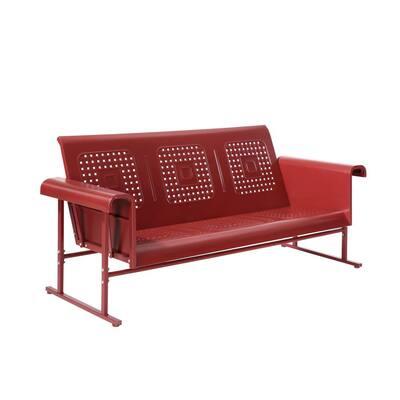 Veranda 3-Person Coral Red Metal Outdoor Glider