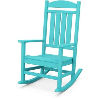 Pineapple Cay Blue Wood Outdoor Rocking Chair