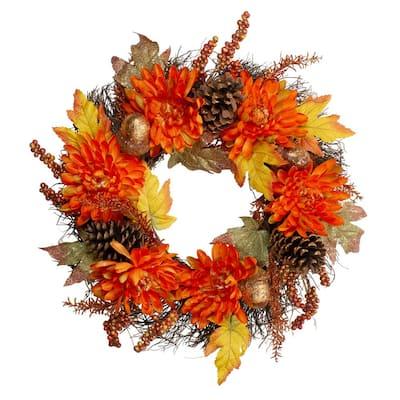 22 in. x 5 in. Unlit Autumn Harvest Orange Cactus Mums Wreath with Brown Acorns Artificial Grapevine