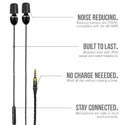 WIRED Hearing Protection Earbuds, 29 dB Noise Reduction Rating, OSHA Compliant Ear Protection for Work, With Microphone