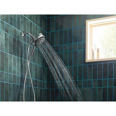 Aromatherapy 6-Spray 5.6 in. Single Wall Mount Handheld Shower Head with INLY Shower Capsules and Magnetix in Chrome