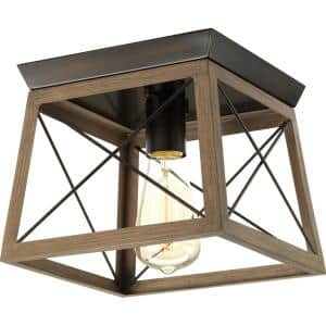 Briarwood Collection 9-1/2 in. 1-Light Antique Bronze Farmhouse Flush Mount Ceiling Light with Painted Wood Oak Frame