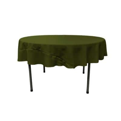 Olive 72 in. Round Polyester Poplin Tablecloth