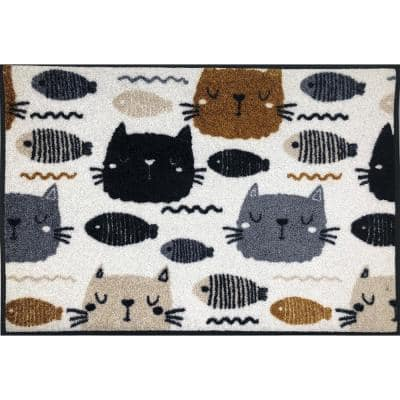 Whimsy Alley Cats 20 in. x 30 in. Nylon Doormat