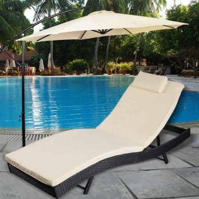 Black Steel Frame Outdoor Chaise Lounge Chair with Beige Cushion