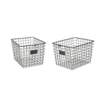 13 in. D x 9 in. W x 8 in. H Industrial Gray Small Steel Wire Storage Bin Basket Organizer (2-Pack)