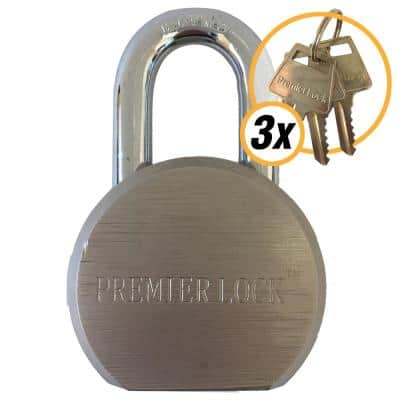 2-5/8 in. Premier Solid Steel Commercial Gate Keyed Padlock with Short Shackle and 3 Keys