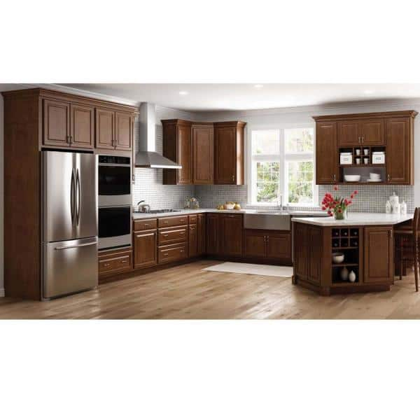 Hampton Bay Hampton Partially Assembled 36 X 34 5 X 24 In Corner Sink Base Kitchen Cabinet In Cognac Kcsb36 Cog The Home Depot