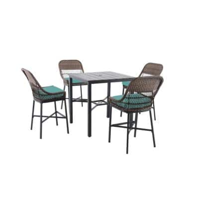 Beacon Park 5-Piece Brown Wicker Outdoor Patio High Dining Set with CushionGuard Seaglass Turquoise Cushions