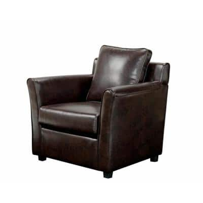Beltram Brown Leather Accent Arm Chair