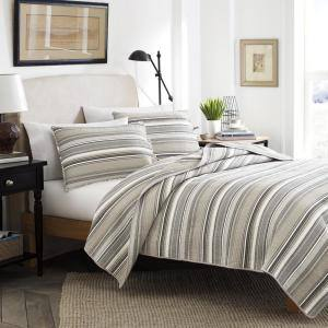 Fresno 3-Piece Neutral Beige Striped Cotton King Quilt Set