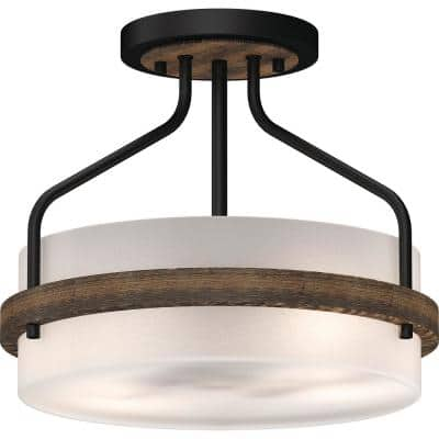 Emery 2-Light Walnut and Black Indoor Semi-Flush Mount Ceiling Fixture with Frosted Glass Drum