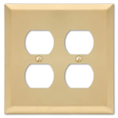 Metallic 2 Gang Duplex Steel Wall Plate - Satin Brass
