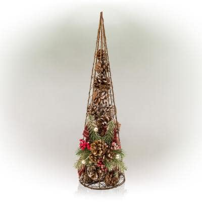 20 in. Tall Rustic Pinecone Christmas Tree Decor