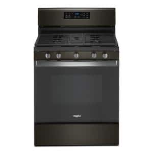 30 in. 5.0 cu. ft. Gas Range with Fan Convection Cooking in Black Stainless